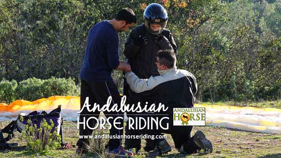 andalusian horse and paragliding